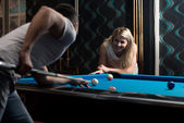 Couple Playing Billard — Stock Photo