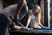 Young Couple Playing Pool Together — Stock Photo