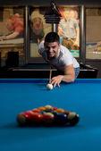 Man Playing Billiards — Stock Photo