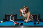Girl Playing Billards — Stock Photo