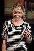 Smiling Happy Girl Playing Billiard — Stock Photo