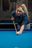 Female Pool Player — Stock Photo