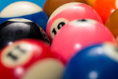 Close-Up Of Pool Balls On Blue Pool Table — Stock Photo