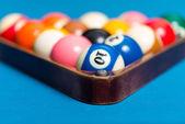 Pool Balls In Rack — Stock Photo