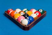 Billiard Balls On Blue Cloth — Stock Photo
