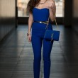 Model Showing Fancy Blue Bag — Stock Photo #41282339