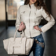 Beautiful Woman Wearing White Leather Jacket — Stock Photo
