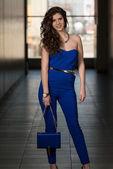 Beautiful Woman Wearing Blue Suit — Stock Photo