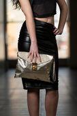 Model Showing Fancy Bag — Stock Photo