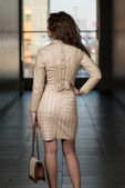 Girl From Behind In Leather Skirt And Jacket — Stock Photo