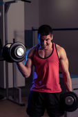 Young Man Exercise With Dumbbells — Photo