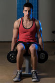 Young Weight Lifting with Dumbbell — Stock Photo