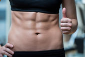 Beautifu Woman Showing Thumbs Up And Her Ab — Stock Photo