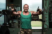 Bodybuilding Shoulder Exercise With Dumbbells — Stock Photo