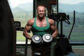 Bodybuilder Weight Lifting with Dumbbell — Stock Photo