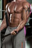 Bodybuilder Exercising Biceps In Healthy Club — Стоковое фото