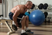 Healthy Man Doing Back Exercises With Dumbbell — Stock Photo