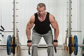 Bodybuilder Doing Heavy Weight Exercise For Back — Stock Photo