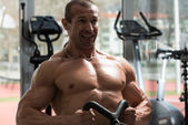 Back Exercises On A Seated Row Machine — Stock Photo