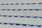 Plastiche blu sedili su stadio — Foto Stock