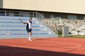 Senior Caucasian Man Playing Tennis — Stock Photo