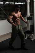 Mature Bodybuilder Is Working On His Chest — Stock Photo