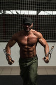 Chest Workout With Cables — Stock fotografie