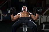 Mature Man Doing Dumbbell Incline Bench Press Workout — Stock Photo