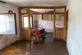 Old Living Room Destroyed From Flood — Stock Photo