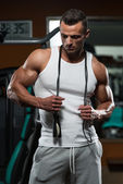 Handsome Muscular Man With Jumping Rope - Cardio Time — Stock Photo