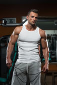 Handsome Muscular Men With Jumping Rope — Stock Photo