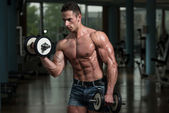 Young Man Working Out Biceps — Stock Photo