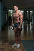 Young Man Working Out Biceps — Stok fotoğraf