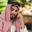 Handsome Middle Eastern Man Talking On Mobile Phone — Stock Photo
