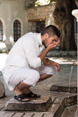 Islamic Religious Rite Ceremony Of Ablution Mouth Washing — Stock Photo