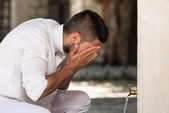 Islamic Religious Rite Ceremony Of Ablution Face Washing — Stock Photo