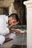 Islamic Religious Rite Ceremony Of Ablution Nose Washing — Stock Photo
