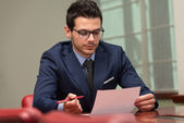 Businessman Working With Documents In The Office — Stock Photo