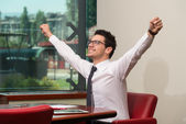 Businessman Rejoicing For His Success — Stock Photo