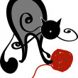 Cat and ball of yarn — Vector de stock #26925151
