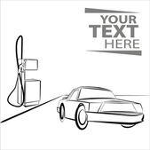 Hand draw car near automotive refueling — Stock Vector