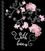 Valentines day card in black and pink colors — Stock Vector