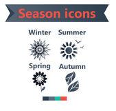 Spring,summer,winter,autumn season icons. Flat UI design. — Stock Vector