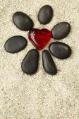 Flower with black stones — Stock Photo
