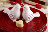 Table setting for Valentine's Day dinner — Stock Photo