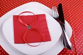 De instelling van de tabel voor valentijnsdag diner — Stockfoto