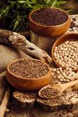 芝麻、 油菜籽、 大豆照片 — 图库照片