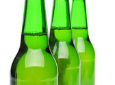 Three bottles of beer close-up — Stock Photo