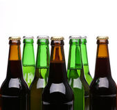 Closed bottles of beer isolated — Stock Photo