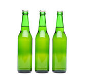 Three green beer bottle — Stock Photo